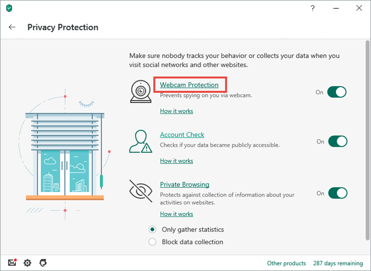 Opening the Webcam Protection section in Kaspersky Security Cloud 20