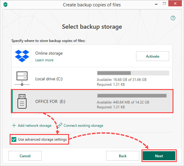 Selecting a removable drive for creating file backups in Kaspersky Total Security 19