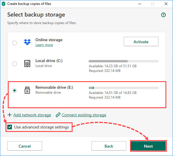 Selecting a removable drive for creating file backups in Kaspersky Total Security 20
