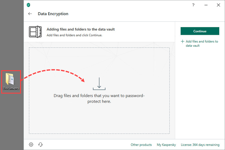 Dragging a folder to a data vault in Kaspersky Security Cloud 19