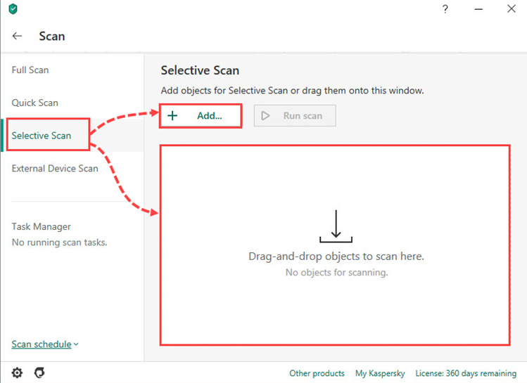 Adding files for a selective scan in Kaspersky Internet Security 20
