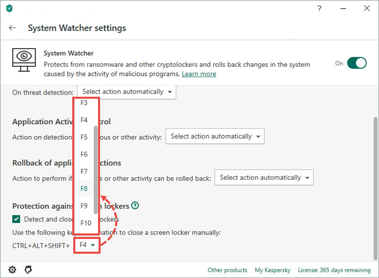 Setting a key combination for unlocking the screen in Kaspersky Internet Security 20