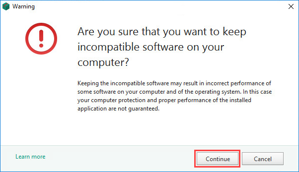Confirming not to remove incompatible applications while installing Kaspersky Internet Security 19