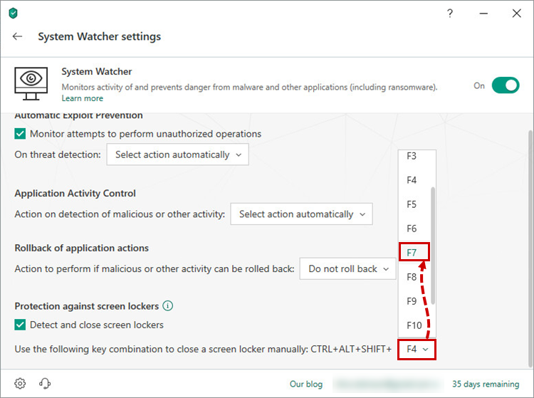 Selecting a hotkey for protection against screen lockers in Kaspersky Total Securitу 19