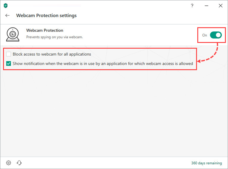 Enabling and configuring Webcam Protection in Kaspersky Security Cloud 19