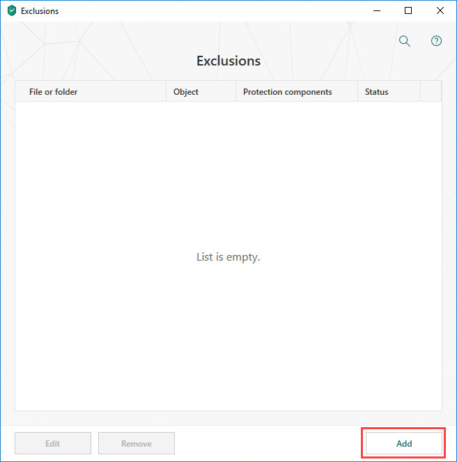 Adding a new exclusion window in Kaspersky Total Security 19
