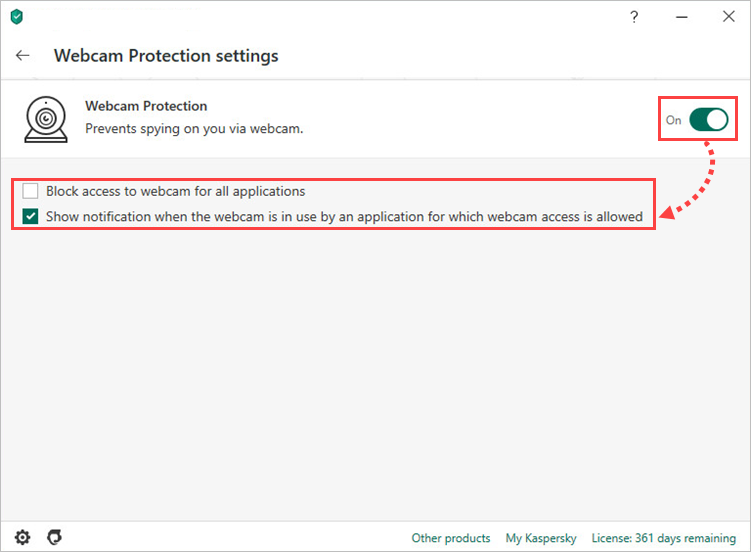 Enabling and configuring Webcam Protection in Kaspersky Security Cloud 20