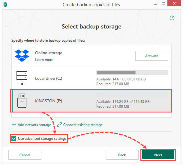 Selecting a removable drive for creating file backups in Kaspersky Security Cloud 19