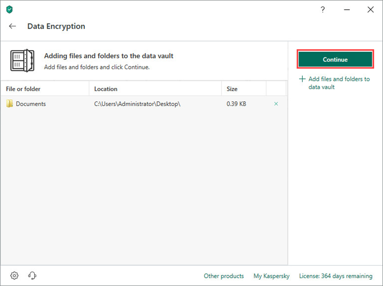 Creating a vault in Kaspersky Security Cloud 19