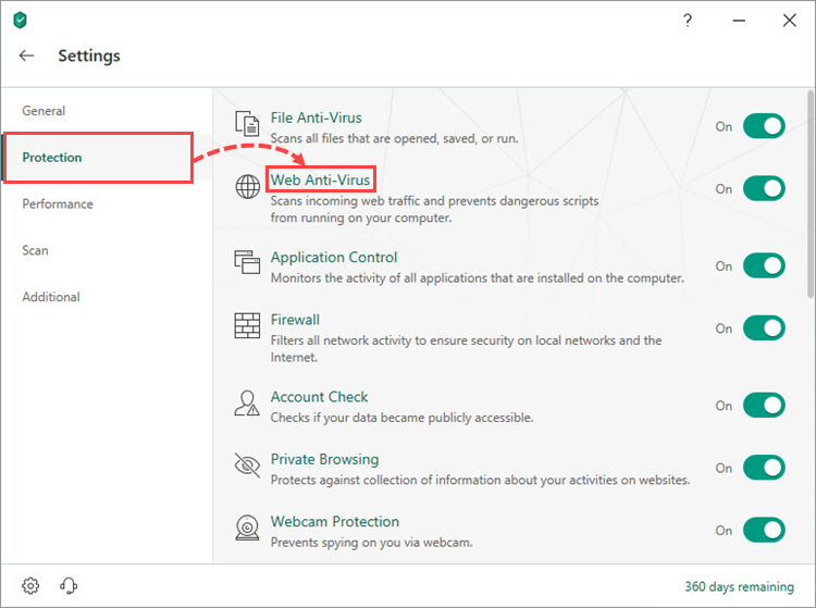 Opening the Web Anti-Virus settings window of Kaspersky Security Cloud 19