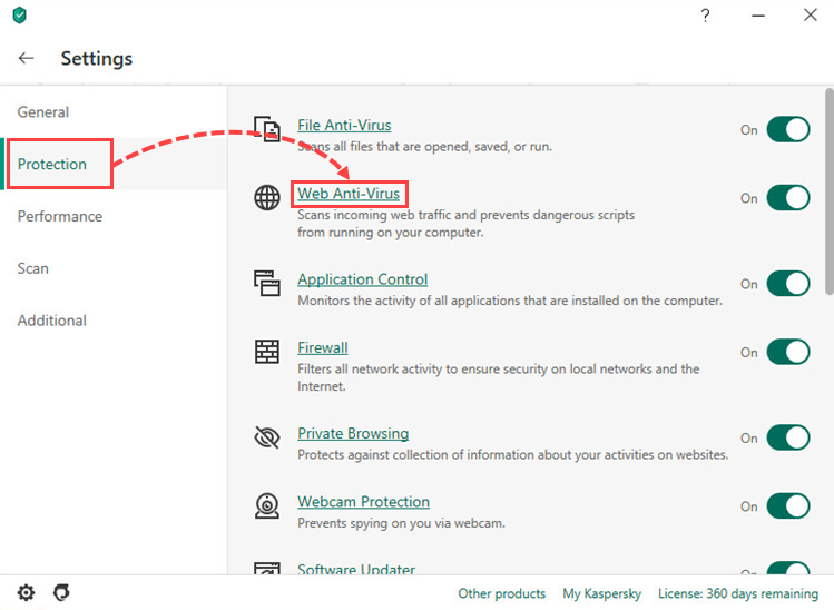 Opening the Web Anti-Virus settings in Kaspersky Anti-Virus 20
