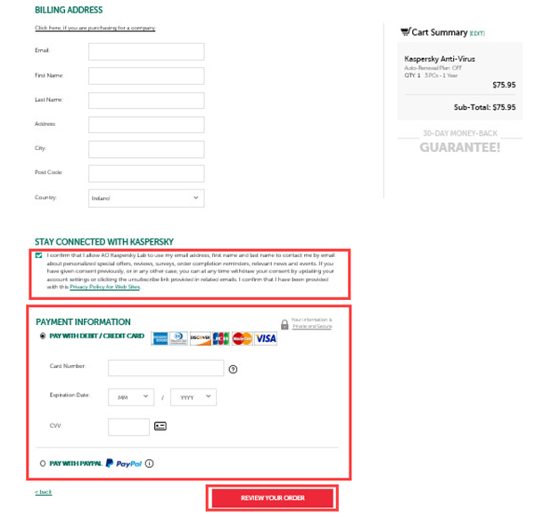 Entering data to purchase the license for Kaspersky Total Security 20