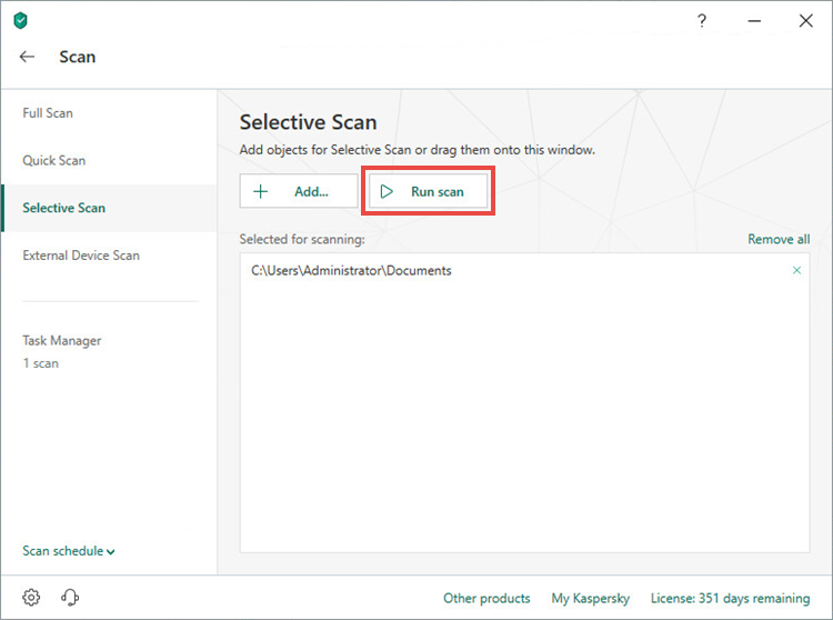 Running a selective scan in Kaspersky Total Security 19