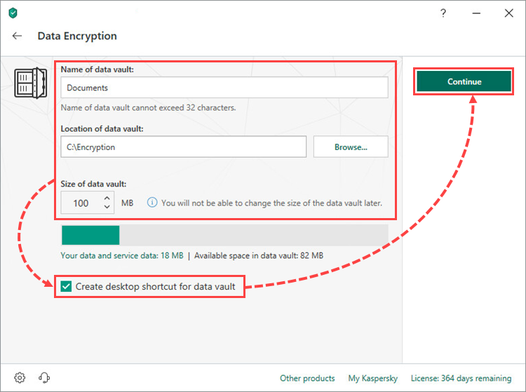 Entering a vault name, location and size in Kaspersky Security Cloud 19