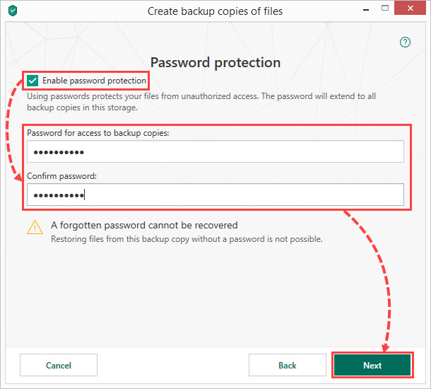 Creating a storage password in Kaspersky Total Security 19