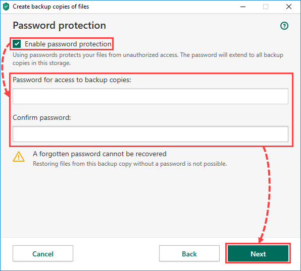 Creating a storage password in Kaspersky Total Security 20