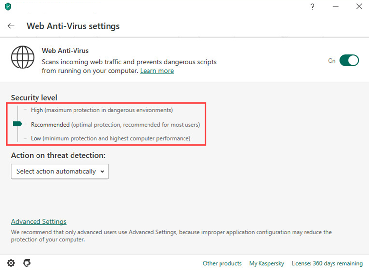 Selecting the protection level in Kaspersky Anti-Virus 20