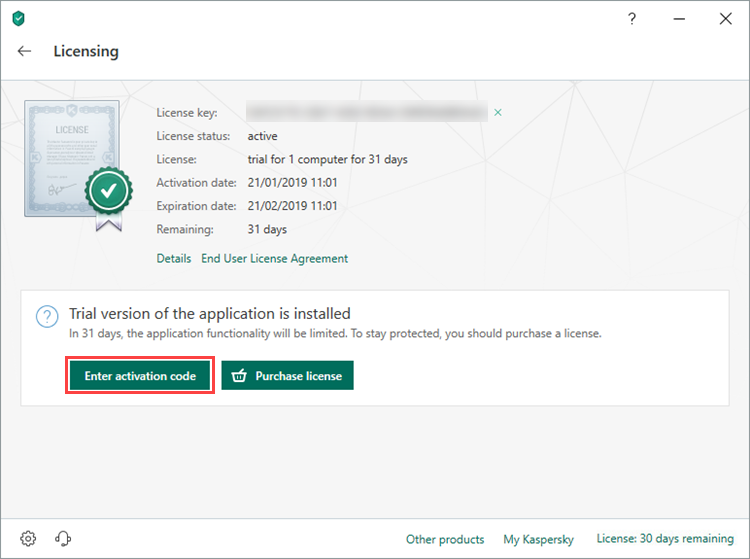 Entering the activation code for Kaspersky Total Security 19
