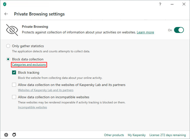Opening the Categories and exclusions window in Kaspersky Internet Security 20