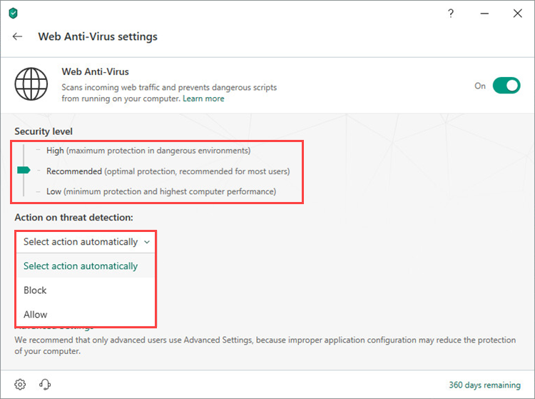 Selecting a security level and an action on threat detection in Kaspersky Security Cloud 19