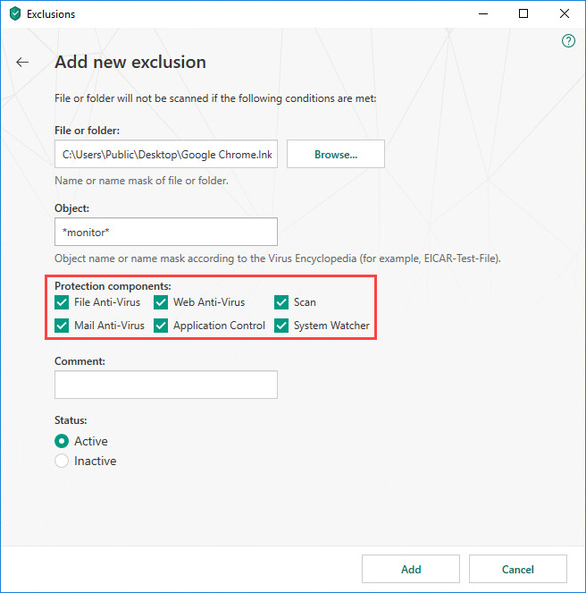 Selecting protection components while configuring an exclusion rule in Kaspersky Total Security 19