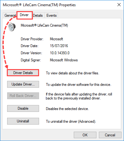 Viewing driver details with Windows Device Manager