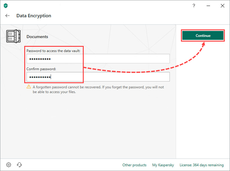 Creating a vault password in Kaspersky Security Cloud 19