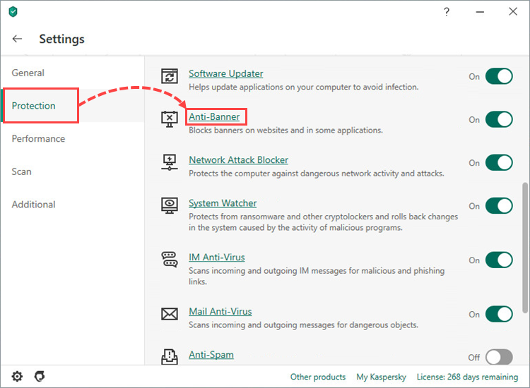 Opening Anti-Banner settings in Kaspersky Internet Security 20