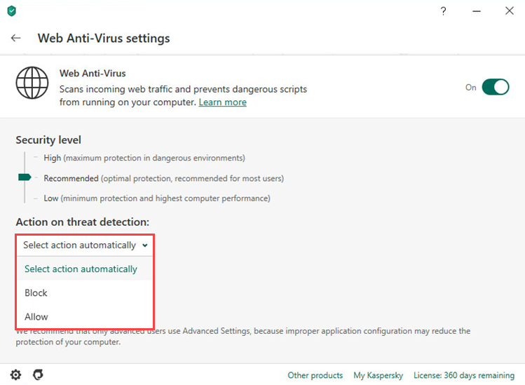 Selecting an action on threat detection in Kaspersky Anti-Virus 20