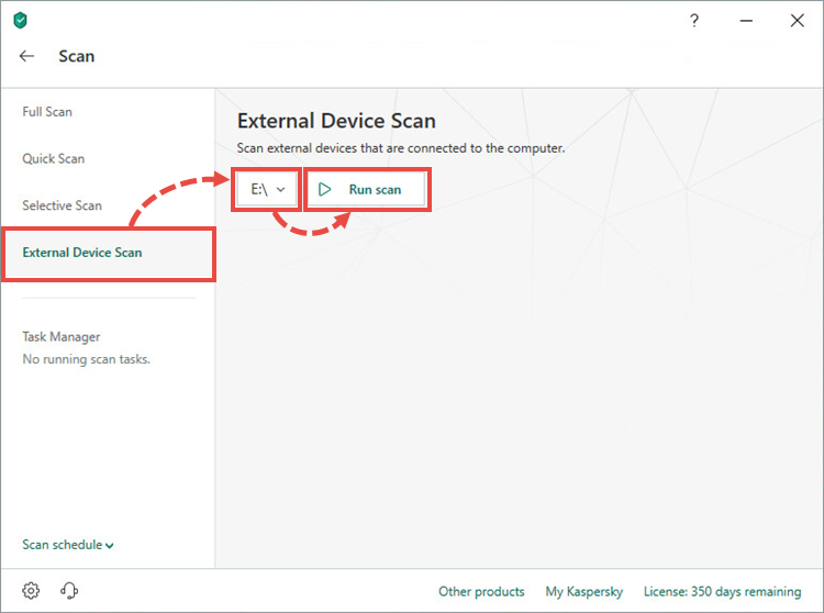 Running an external device scan in Kaspersky Total Security 19