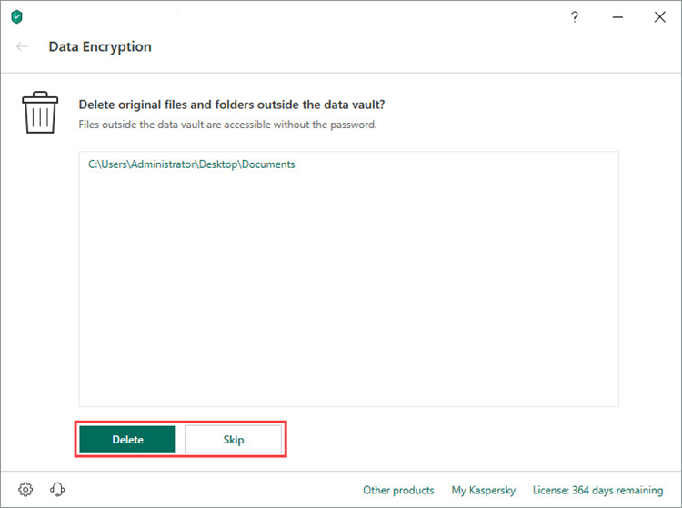 Action to take on original files when creating a vault in Kaspersky Security Cloud 19