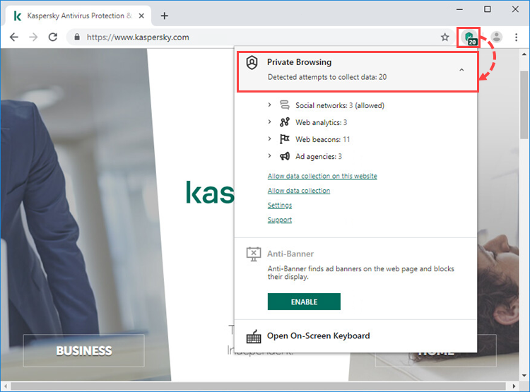 Viewing statistics about blocked data requests with Kaspersky Protection