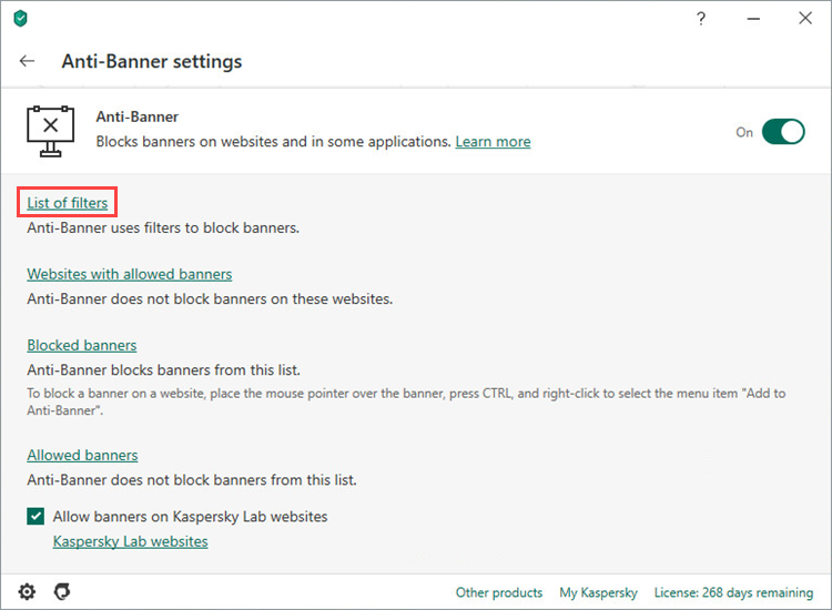 Opening the Anti-Banner list of filters of Kaspersky Internet Security 20