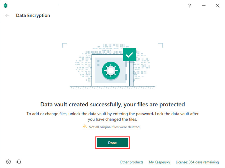 Completing vault creation in Kaspersky Security Cloud 19