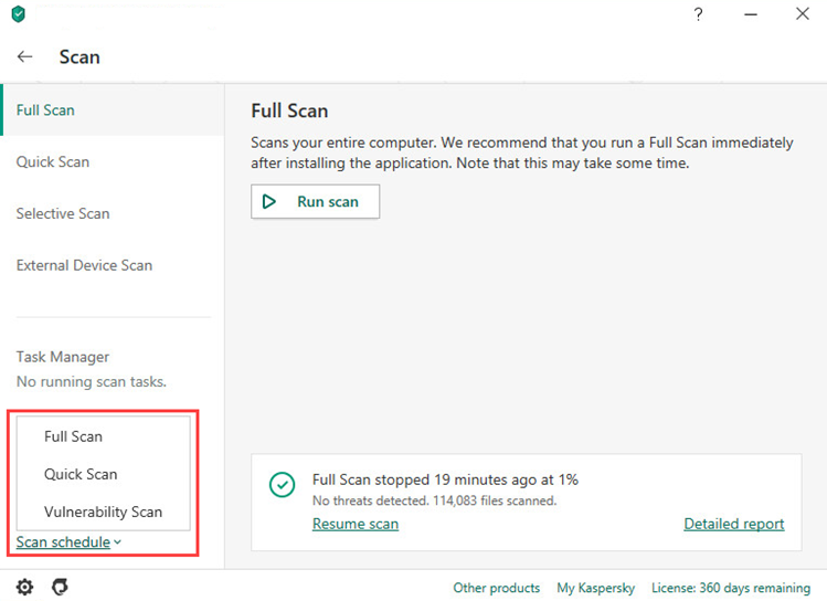 Selecting a scan type for setting a scan schedule in Kaspersky Internet Security 20