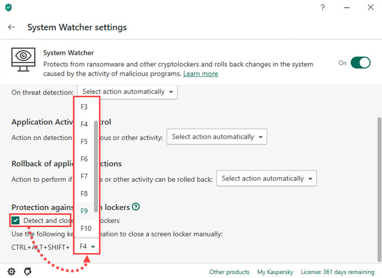 Setting a key combination for removing screen locking malware in Kaspersky Security Cloud 20