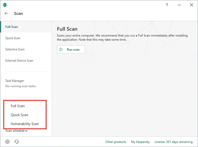 Selecting a scan type for setting a scan schedule in Kaspersky Total Security 19
