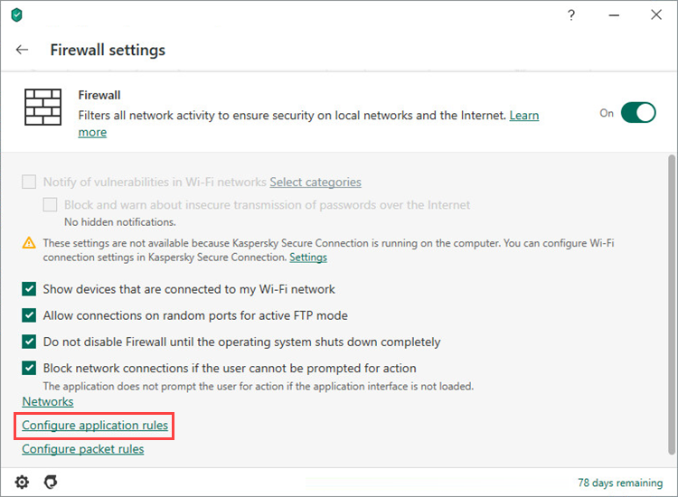 Opening the settings for application rules in Kaspersky Security Cloud 20