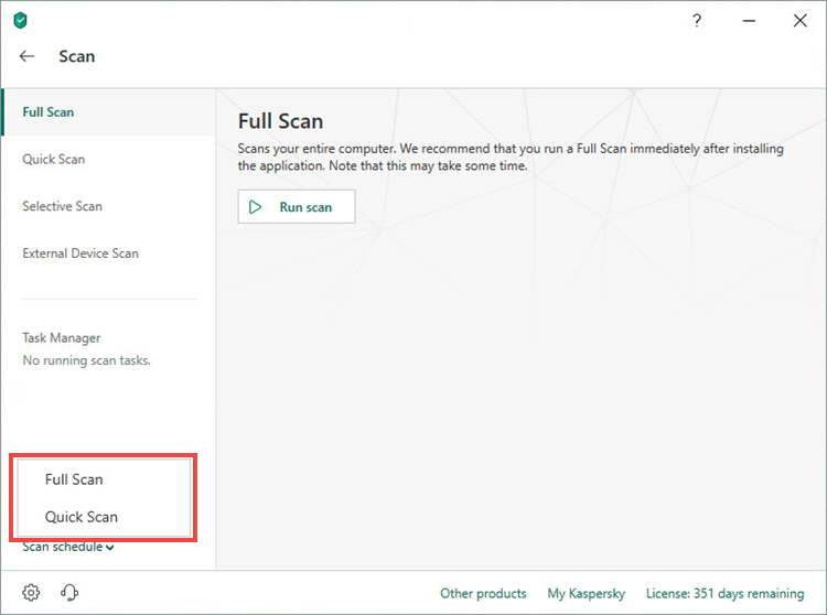 Scan schedule settings in Kaspersky Security Cloud 19