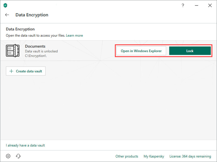 Opening or locking a vault in Kaspersky Security Cloud 19