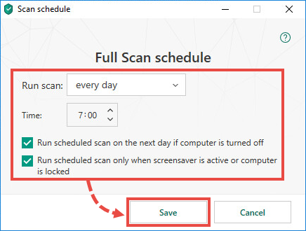 Configuring a scan schedule in Kaspersky Total Security 19