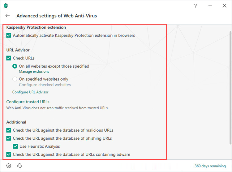 Adjusting advanced Web Anti-Virus settings in Kaspersky Security Cloud 19