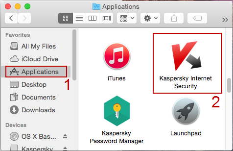 Screenshot: open Kaspersky Internet Security 15 for Mac from Finder