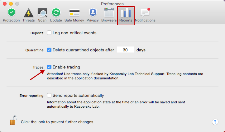 To get trace files in Kaspersky Internet Security 16 for Mac, check the appropriate box and reproduce the problem.