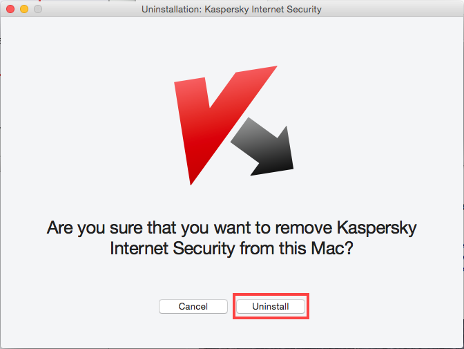 Confirm uninstallation for Kaspersky Internet Security 15 for Mac
