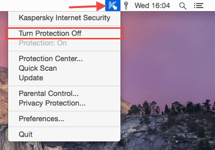 Image: Turn Protection Off in Kaspersky Internet Security 16 for Mac