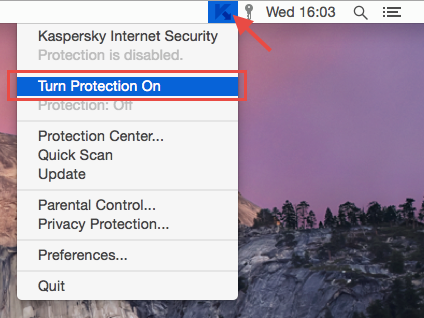 Image:  Turn Protection On in Kaspersky Internet Security 16 for Mac