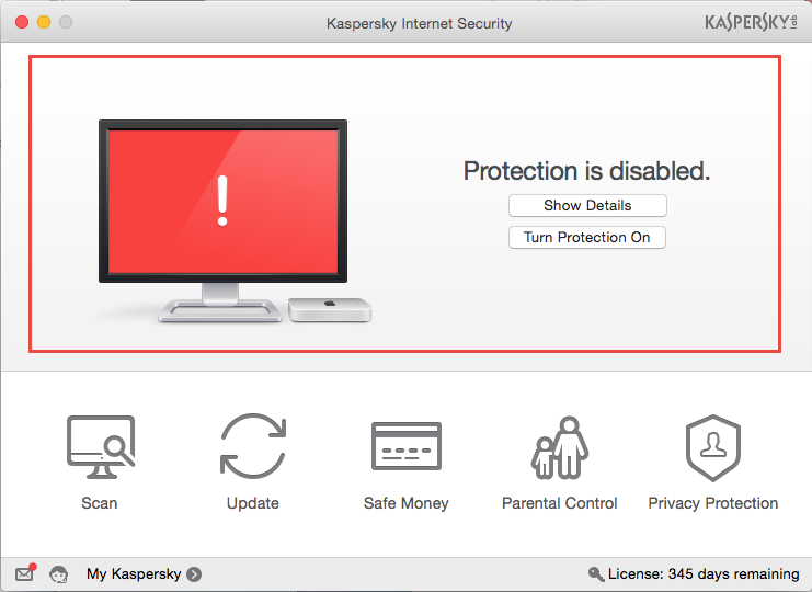 Image: red security indicator of Kaspersky Internet Security 16 for Mac