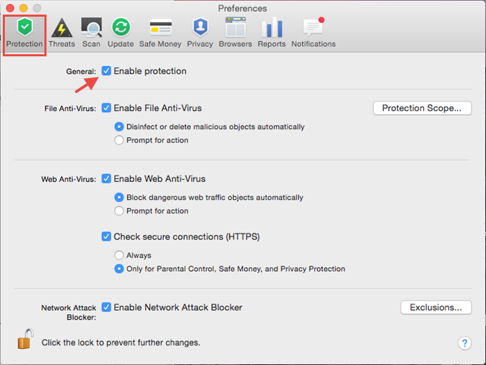 Image: disable protection from Preferences in Kaspersky Internet Security