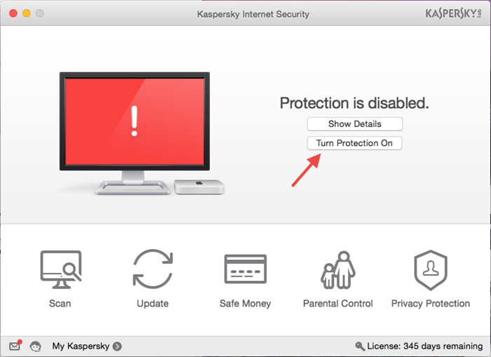 Image: disable protection from Preferences in Kaspersky Internet Security 16 for Mac